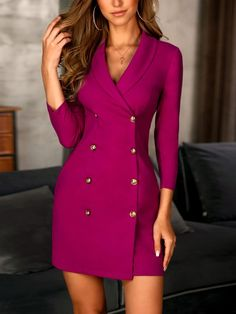 Solid Double-Breasted OL Blazer Dress - Solid Double-Breasted OL Blazer Dress Source by slaclef - Blazer Outfits, Blazer Dress, Blazer Fashion, Coat Dress, Dress Outfits, Casual Dresses, Fashion Dresses, Dress Up, Bodycon Dress