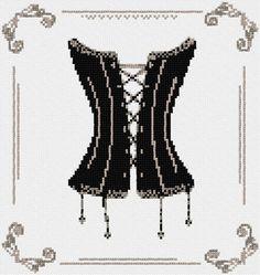 0 point de croix corset noir - cross stitch black corset