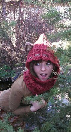Crochet Ewok inspired hood/scarf