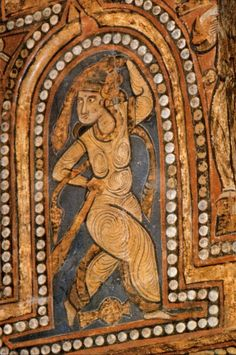 """Scarf Dancer, The Painted Wooden Ceiling of the Palatine Chapel, """"Cappella Palatina"""", Palermo, Sicily, c.1140AD"""