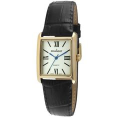 The Roma Women's Leather Watch by Peugeot- Gold/Black