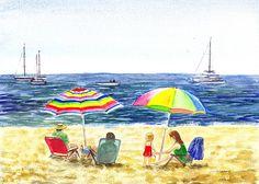 Two Umbrellas On The Beach California' - http://irina-sztukowski.artistwebsites.com/featured/two-umbrellas-on-the-beach-california-irina-sztukowski.html #seascape #art #painting #water #homedecor #livingroomdecor #bedroomdecor #interior #shore #beach