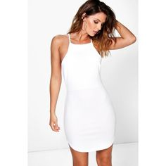 Boohoo Selina High Neck Curved Hem Bodycon Dress ($26) ❤ liked on Polyvore featuring dresses, white, white dress, white cami, evening dresses, bodycon cocktail dress and cocktail dresses