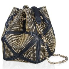 Small Prismick Studs Bucket Bag in Leather RBWALCC51005M6B999