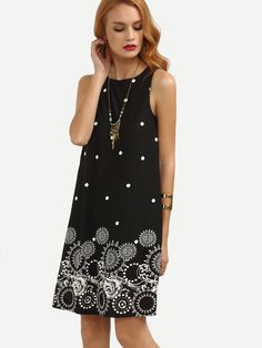 SheIn Casual Dresses For Women 2016 Summer Ladies Black Polka Dot Print Sleeveless Round Neck Short Shift Dress Shift Dresses, Summer Dresses 2017, Dress Summer, Casual Dresses For Women, Clothes For Women, Woman Outfits, Burgundy Dress, Dress Black, White Dress