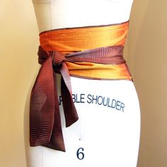 Two-tone obi-style belt made from vintage kimono silk, formerly for sale on SimonesRoseBoutique on Etsy.com.