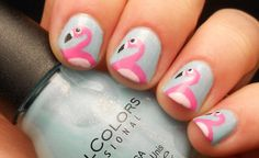How to Paint Flamingo Nail Art Tutorial | French Manicure