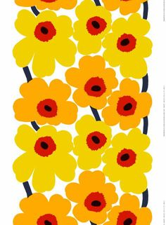 Unikko-vahakangas (valkoinen, keltainen, punainen) |Kankaat, Vahakankaat | Marimekko