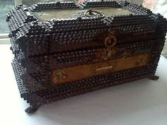 ANTIQUE FRENCH WOODEN CHIP CARVED TRAMP ART BOX CHEST