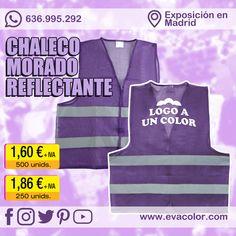 Chaleco morado con bandas reflectantes para eventos multitudinarios, manifestaciones, coordinacion en conciertos... Personalizable con logo marcado en la parte delantera o en la espalda. #chaleco #morado