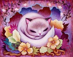 Sleepy Kitty, Acrylic on Wood, 11 x 14 inches, 2014. All Rights Reserved | Jeremiah Ketner