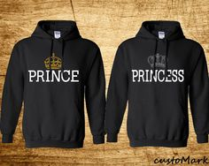 Prince & Princess Hoodies Cute Sweat Sweashirts by crazydaisyworld