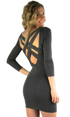 Criss Cross Back Heathered Bodycon Dress - Charcoal Gray | .H.C.B.