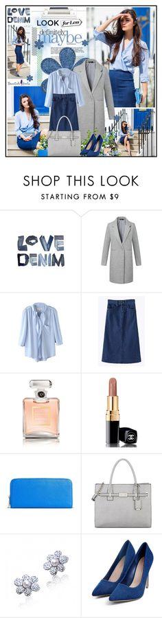 """Definitely denim"" by katik27 ❤ liked on Polyvore featuring мода, Chanel, Merona, Nine West, LookForLess, denimskirt, DenimStyle и beautifulhalo"