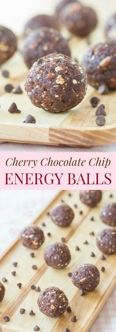 Cherry Chocolate Chip Energy Balls - an easy healthy snack recipe with only a few ingredients that's nut-free and can be made gluten free and vegan. | cupcakesandkalechips.com