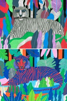 Tiger illustrations in the jungle by Orane Sigal