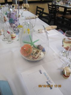 Beach Centerpieces for my sister's beach themed bridal shower