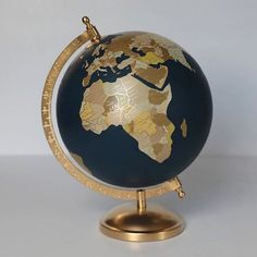 Graduation Party Decor Discover Gold and Neutral Globe Custom Hand Painted Globe Customizable Exposed Countries Hand Lettering Of Your Choice Diameter Painted Globe, Hand Painted, Silver Leaf Painting, Deco Paris, Map Wall Decor, World Globes, Antique Toys, Decoration, Neutral