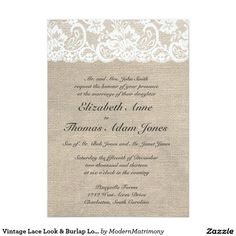 Vintage Lace Look & Burlap Look Wedding Invitation