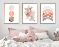 Trending Now Art, Set of 3 Prints, Print Set, Copper, Rose Gold, Blush Pink, DIY Art, Triptych, Scandinavian Prints, Printable Art, Wall Art by UrbanEpiphanyPrints on Etsy https://www.etsy.com/uk/listing/514967552/trending-now-art-set-of-3-prints-print