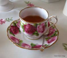 Royal Albert Old English Rose on a different shape cup,