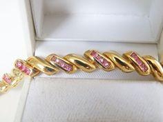 "QVC 14kt Gold Sterling Silver Genuine Ruby San Marco Macaroni Bracelet FITS 8"" #Designer #Tennis"