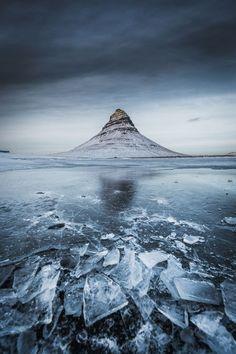 In frozen Kirkjufell, Iceland.