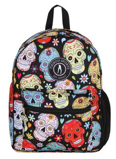 Stand out with this bold Black Mexican Skulls backpack, featuring decorative skulls in assorted colours with flowers, hearts and Tikiboo Sports logo.  Offering soft padded straps (adjustable for both adults and kids), this unisex backpack is super spacious (and meets major airline hand luggage specifications). It easily fits in a gym or a pool locker and includes a front pouch pocket and side net for your drinks bottle. Halloween Skull, Vintage Halloween, Halloween Costumes, Halloween Makeup, Sugar Skull Makeup, Sugar Skull Art, Candy Skulls, Mexican Skulls, Vintage Witch