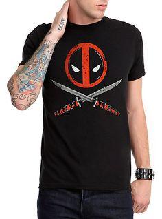 Official Marvel Comics Deadpool Crossed Pose Logo Sword Photo T-shirt top movie