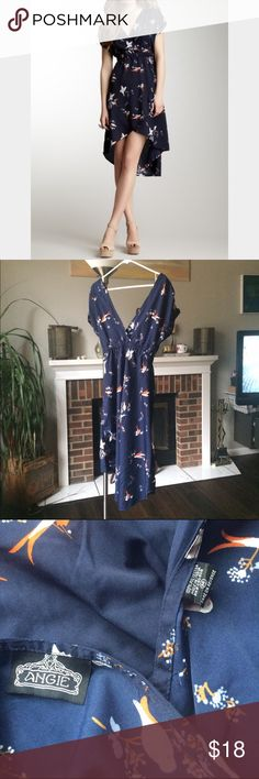 Angie bird hi-lo wrap dress with Deep V neckline Navy blue high low dress with cute bird pattern Angie Dresses High Low