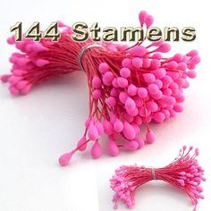 144pc Beautiful Artificial Paper Rose Flower Wedding Card Embellishment - Pink