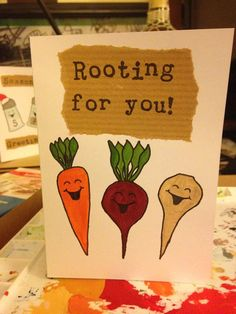 Handmade painted cute funny food Good Luck card - 'Rooting For You!'