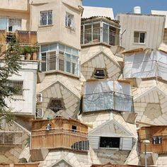 Honey Bee Hive House, Jerusalem, Israel. It was built due to attempts by the national Ministry of Housing, to break out of the standard architectural mold.