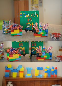Lego party. Using legos to hold items and for signage. Great!
