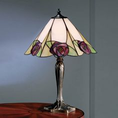 Tiffany Art Nouveau Table Lamp with Mackintosh Pink Rose, Bronze Base Stained Glass Lamp Shades, Stained Glass Light, Tiffany Stained Glass, Tiffany Glass, Tiffany Art, Pendant Light Fitting, Tiffany Table Lamps, Stained Glass Projects, Lamp Light