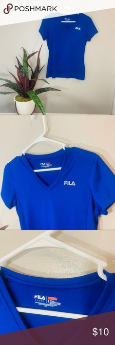Fila Boys Geometric Print Performance Top Size 5//6 Blue Depth