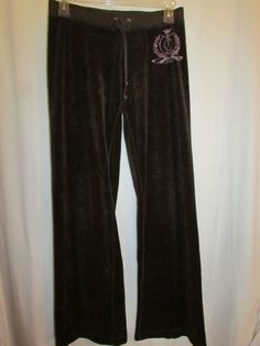 JUICY COUTURE Sz XS Brown Low Rise Pants Sweats Lounge Drawstring Elastic Waist #JuicyCouture #TrackSweatPants