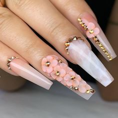 In seek out some nail designs and ideas for your nails? Here is our list of must-try coffin acrylic nails for modern women. Rhinestone Nails, Bling Nails, Swag Nails, Nail With Rhinestones, Sparkle Nails, 3d Nails, Coffin Nails, White Acrylic Nails, Summer Acrylic Nails