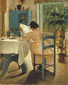 Just My Cup of Tea by Swedish realist painter Carl Larsson Reading Art, Woman Reading, Reading Books, Carl Larsson, Nordic Art, Scandinavian Art, Edward Hopper, Oeuvre D'art, Female Art