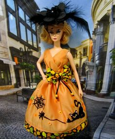 Pumpkins, spiders & Black Cats, Halloween is on the way  Posted by helen on October 6, 2016  Halloween is just around the corner, who has the most fun? of course Barbie! The dress is hand-embroidered, I bet not many people in America are still hand-embroidering.