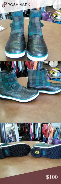NEW Women UGG Boots sz 9 Plaid Green Never been worn sz 9 leather green, plaid UGG Shoes Ankle Boots & Booties