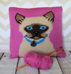 Knitting Pattern PDF Download - Siamese Cat Portrait Cushion Cover by…