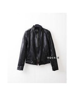 Mens KL Minimal Leather Biker Jacket at Fabrixquare