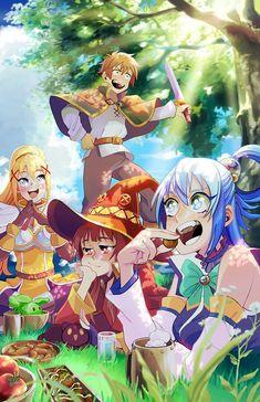 you ever meet a group of idiots that just fumblefuck their way into your heart? A print i made up for metrocon! Konosuba Anime, Otaku Anime, Anime Art, Megumin Explosion, Konosuba Wallpaper, Aqua Konosuba, Anime Kunst, Animes Wallpapers, Fantasy World