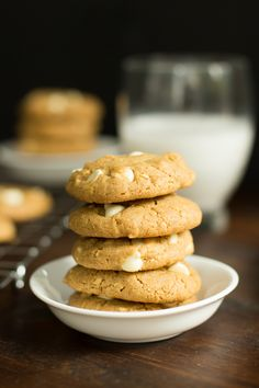 Peanut Butter White Chocolate Chip Cookies (Gluten-free) - They are gluten-free, chewy and super soft! I also love this recipe because you probably have all the ingredients in stock!!