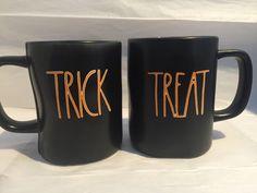 Rae Dunn Magenta HALLOWEEN TRICK OR TREAT Mugs Set of 2 New Holiday Home Decor #RaeDunnMagenta