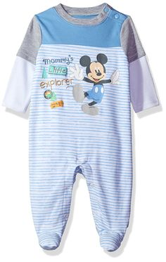 Disney Baby Boys' Mickey Mouse Coverall Footie, Light Blue, 3-6 Months