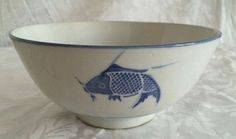Vintage Chinese Hand Painted Porcelain White and Blue Koi Fish Rice Bowl Marked