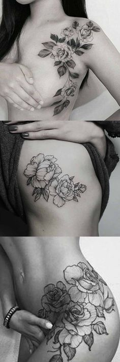 Wild Rose Tattoo Ideas at MyBodiArt.com - Shoulder Flower Tatt - Black Thigh Rib Tat