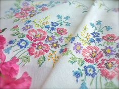 Check out this item in my Etsy shop https://www.etsy.com/uk/listing/496023828/hand-embroidered-vintage-pink-bouquet